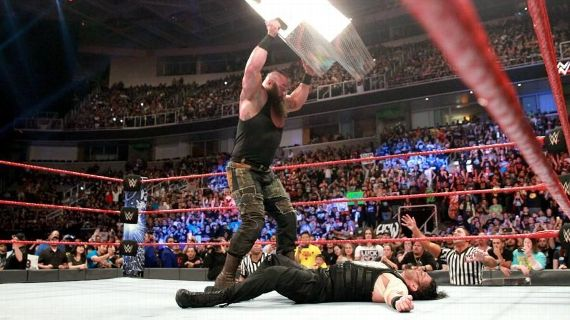 The wars between Braun Strowman and Roman Reigns involved a panoply of weapons and vicious attacks in both directions.jpg